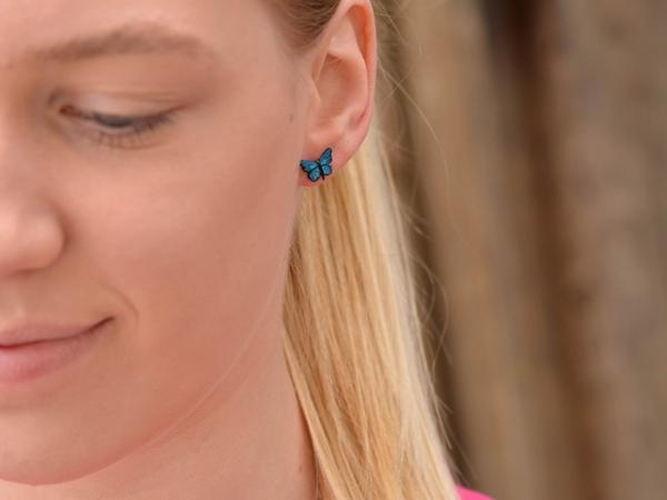 Unikatni uhani Modri metulji