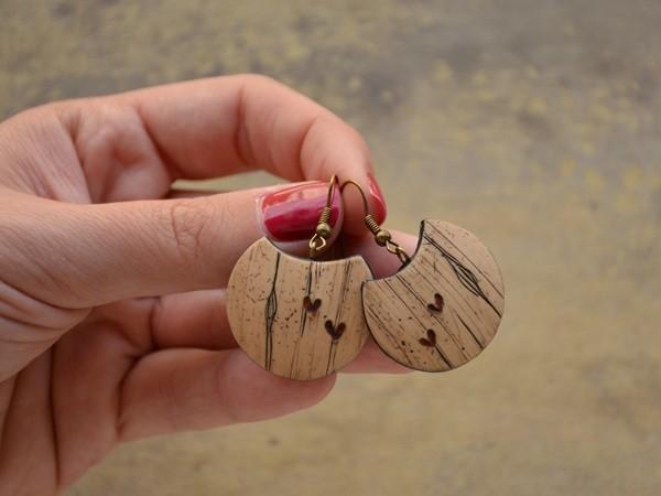 Viseči uhani Leseni srčki