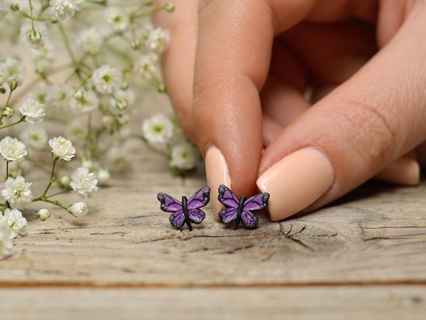 Metulji vijolični - mali uhani