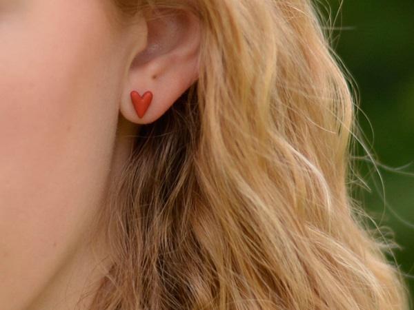 Koralni srčki - mali uhani